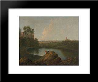 The Head Of Lake Nemi: Modern Black Framed Art Print by Richard Wilson