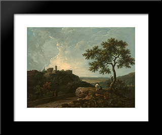 Tivoli The Temple Of The Sybil And The Campagna: Modern Black Framed Art Print by Richard Wilson