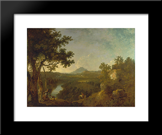 View Near Wynnstay, The Seat Of Sir Watkin Williams-Wynn, Bt.: Modern Black Framed Art Print by Richard Wilson