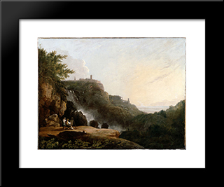 View Of Tivoli The Cascatelle And The 'Villa Of Maecenas': Modern Black Framed Art Print by Richard Wilson