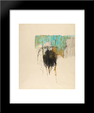 Blue And Ochre: Modern Black Framed Art Print by Richards Ruben