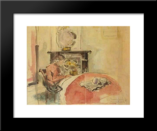 Reading Girl: Modern Black Framed Art Print by Rik Wouters