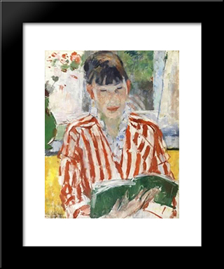 Reading Woman: Modern Black Framed Art Print by Rik Wouters