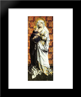 Madonna And Child: Modern Black Framed Art Print by Robert Campin
