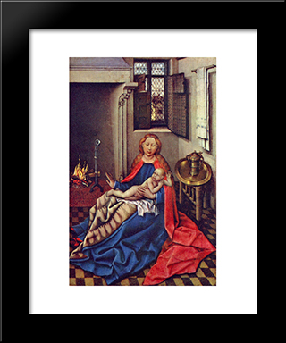 Madonna And Child Before A Fireplace: Modern Black Framed Art Print by Robert Campin