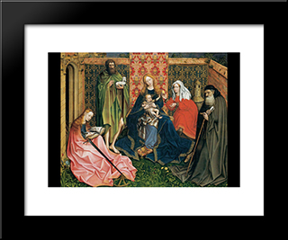 Madonna And Child In A Garden: Modern Black Framed Art Print by Robert Campin