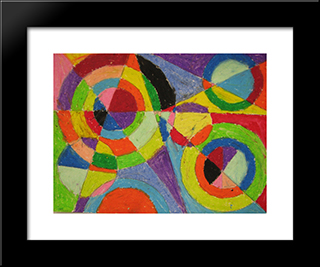 Color Explosion: Modern Black Framed Art Print by Robert Delaunay