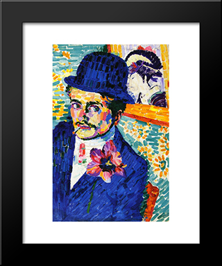 Man With A Tulip (Also Known As Portrait Of Jean Metzinger): Modern Black Framed Art Print by Robert Delaunay
