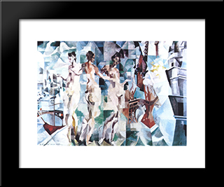 The City Of Paris: Custom Black Wood Framed Art Print by Robert Delaunay