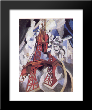 The Red Tower: Modern Black Framed Art Print by Robert Delaunay
