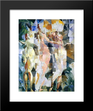 The Three Graces: Modern Black Framed Art Print by Robert Delaunay