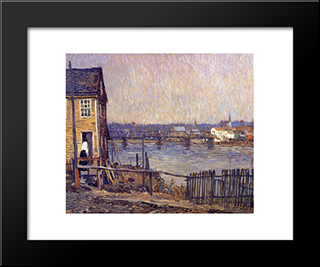 A Fisherman'S House: Modern Black Framed Art Print by Robert Spencer