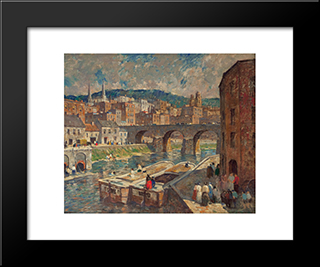 A River Mill Town: Modern Black Framed Art Print by Robert Spencer
