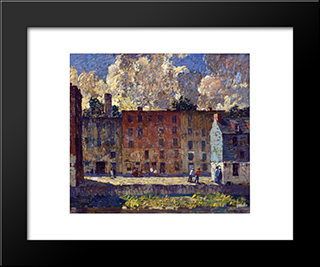 A Row Of Tenements: Modern Black Framed Art Print by Robert Spencer