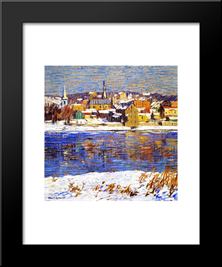 Across The Deleware: Modern Black Framed Art Print by Robert Spencer