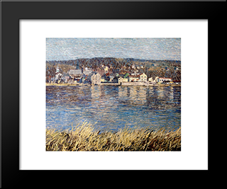 Across The River: Modern Black Framed Art Print by Robert Spencer