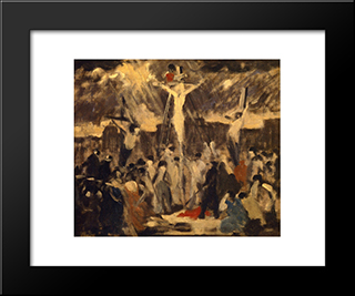Crucifixion, Sketch #3: Modern Black Framed Art Print by Robert Spencer