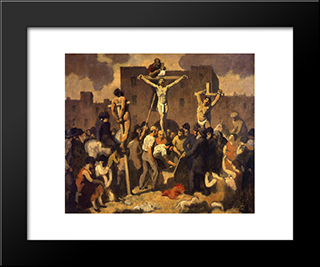 Crucifixion: Modern Black Framed Art Print by Robert Spencer