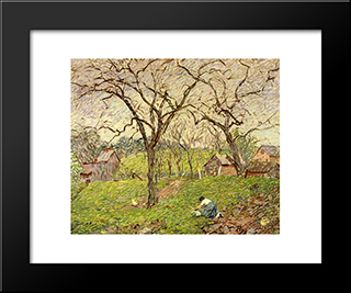 Gathering Greens: Modern Black Framed Art Print by Robert Spencer