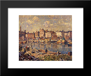 Harlem River: Modern Black Framed Art Print by Robert Spencer