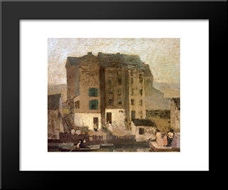 Misty Evening: Modern Black Framed Art Print by Robert Spencer