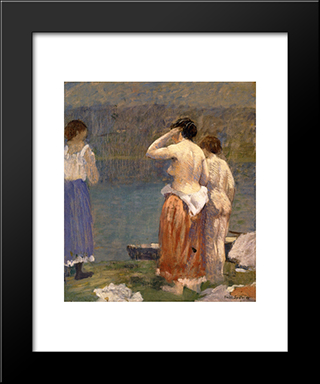 On The Bank: Modern Black Framed Art Print by Robert Spencer