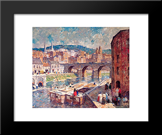 Pennsylvania Mill Town: Modern Black Framed Art Print by Robert Spencer