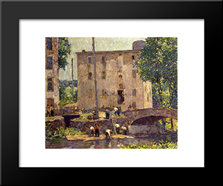 Repairing The Bridge: Modern Black Framed Art Print by Robert Spencer