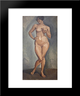 Standing Nude From The Front: Modern Black Framed Art Print by Roger de La Fresnaye