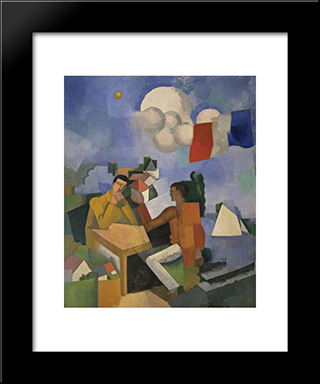 The Conquest Of The Air: Modern Black Framed Art Print by Roger de La Fresnaye