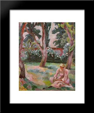Orchard, Woman Seated In A Garden: Modern Black Framed Art Print by Roger Fry