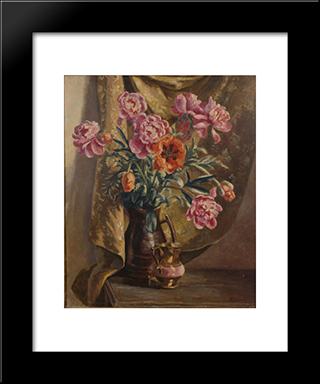 Peonies And Poppies: Modern Black Framed Art Print by Roger Fry