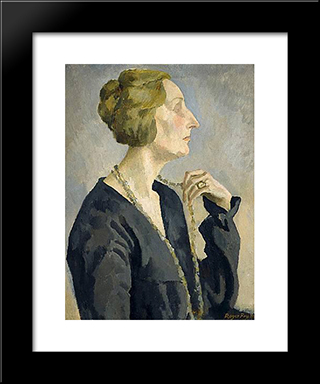 Portrait Of Edith Sitwell: Modern Black Framed Art Print by Roger Fry