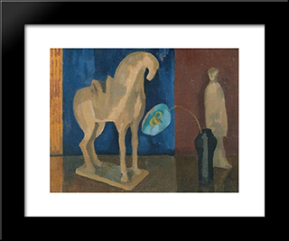 Still Life With T'Ang Horse: Modern Black Framed Art Print by Roger Fry