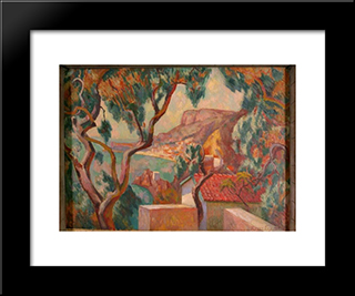 View On The Cote D'Azur, Menton: Modern Black Framed Art Print by Roger Fry