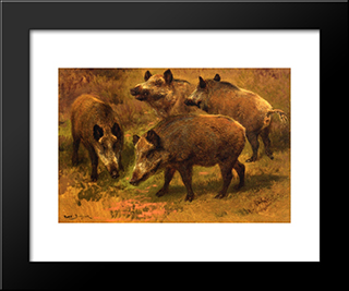 Four Boars In A Landscape: Custom Black Or Gold Ornate Gallery Style Framed Art Print by Rosa Bonheur