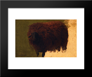 Large Wooly Sheep (Also Known As Wether): Modern Black Framed Art Print by Rosa Bonheur
