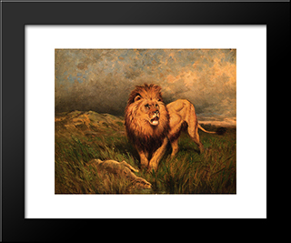 Lion And Prey (Also Known As The Kill): Modern Black Framed Art Print by Rosa Bonheur
