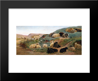 Sheep In A Mountainous Landscape: Modern Black Framed Art Print by Rosa Bonheur