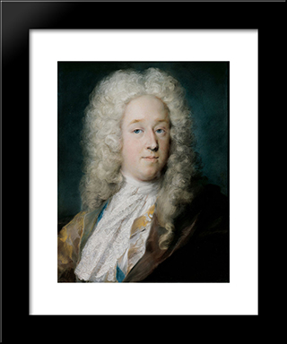 A Gentleman In A Gold Patterned Coat And Violet-Brown Cape: Modern Black Framed Art Print by Rosalba Carriera