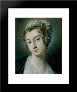 A Tyrolean Innkeeper: Modern Black Framed Art Print by Rosalba Carriera