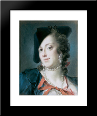 A Venetian Lady From The House Of Barbarigo (Caterina Sagredo Barbarigo): Modern Black Framed Art Print by Rosalba Carriera