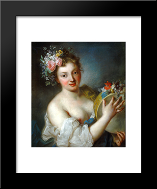 Allegory Of Music: Modern Black Framed Art Print by Rosalba Carriera