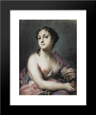Autumn: Modern Black Framed Art Print by Rosalba Carriera