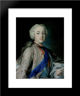 Crown Prince Friedrich Christian Of Saxony: Modern Black Framed Art Print by Rosalba Carriera