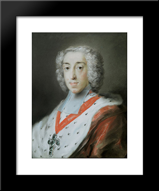 Elector Clemens Augustus Of Cologne: Modern Black Framed Art Print by Rosalba Carriera