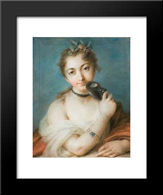 Female Portrait With Mask: Modern Black Framed Art Print by Rosalba Carriera