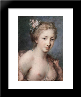 Flora: Modern Black Framed Art Print by Rosalba Carriera