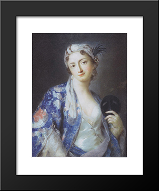 Lady In A Turkish Costume (Felicita Sartori): Modern Black Framed Art Print by Rosalba Carriera