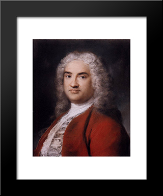 Portrait Of A Gentleman In Red: Modern Black Framed Art Print by Rosalba Carriera